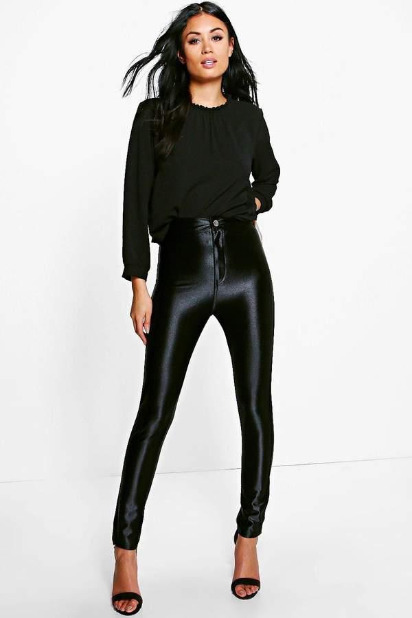 boohoo Willow High Waist Super Skinny Disco Trousers black