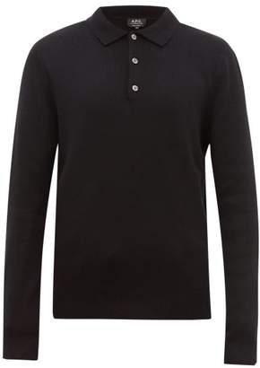 A.P.C. Harold Long Sleeve Knitted Polo Shirt - Mens - Black