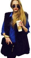 LUNIWEI Women Faux Fur Sleeveless Vest Waistcoat Jacket Gilet Shrug Coat Outwear