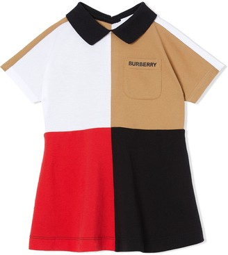 BURBERRY KIDS Colour Block Knit Cotton Polo Shirt Dress