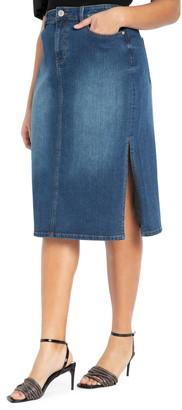 ELOQUII Denim Midi Skirt