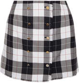 Thom Browne Checked Wool-blend Mini Skirt - Navy
