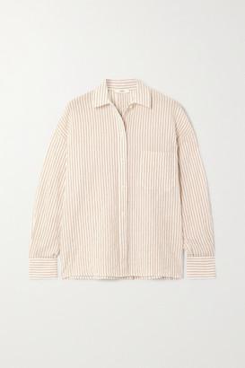 Vince Striped Stretch-cotton Shirt - White
