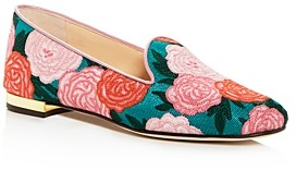 Charlotte Olympia Women's Fabri Floral Embroidered Smoking Slippers