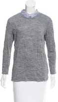 Band Of Outsiders Textured Pointed Collar Top
