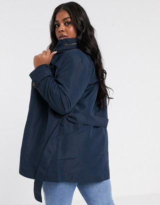 Junarose funnel neck lightweight coat in navy