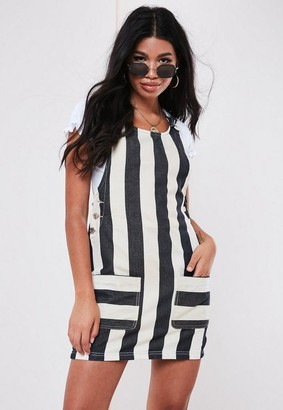 Missguided Blue Denim Stripe Pinafore Dress