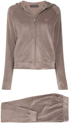 Emporio Armani Logo-Plaque Hooded Track Jacket