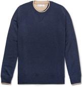 Brunello Cucinelli - Contrast-tipped Mélange Cashmere Sweater