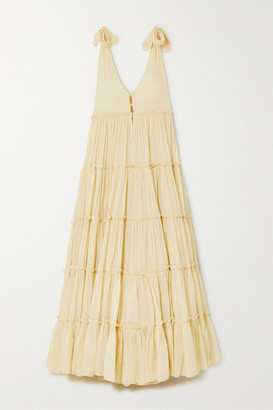 Innika Choo Rayleigh Grait Tiered Cotton-voile Maxi Dress - Pastel yellow