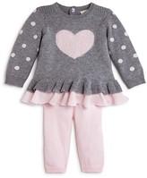 Miniclasix Infant Girls' Ruffled Heart Sweater Top & Leggings Set - Sizes 3-9 Months