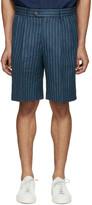 Umit Benan Blue Linen Pinstripe Shorts