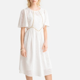 La Redoute Collections Cotton Lace Ruffled Midi Dress with Eyelet Detail