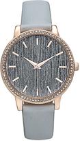 Geneva Platinum Gray & Rose Gold Stripe-Dial Watch
