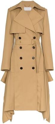 Chloé Asymmetric hem belted wool trench coat
