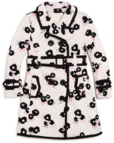 Kate Spade Girls' Double Breasted Floral Trench Coat - Sizes 2-6