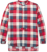 Nonnative - Master Slim-fit Grandad-collar Checked Brushed-cotton Shirt
