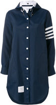 Thom Browne Thigh Length Shirtdress With Button-Out Hood & 4-Bar Stripe In Navy Nylon Tech
