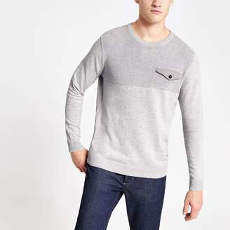 Jack and Jones Mens River Island Grey knitted jumper