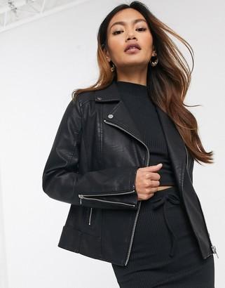 Miss Selfridge faux leather jacket in black