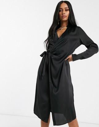 NA-KD side tie satin midi dress in black