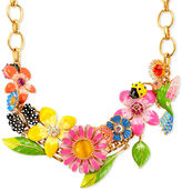 Betsey Johnson Necklace, Gold-Tone Flower and Bird Frontal Necklace