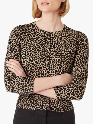 Hobbs Paula Animal Print Cardigan, Black/Camel