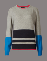 Autograph Pure Cashmere Colour Block Striped Jumper