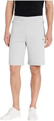 Lacoste Solid Bermuda Shorts Silicon Croc Badge at Bottoms Leg Motion (Light Grey) Men's Shorts