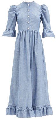 Batsheva Pearl-button Cotton-chambray Dress - Blue