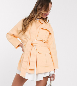 ASOS DESIGN Petite soft cotton utility jacket in buttermilk