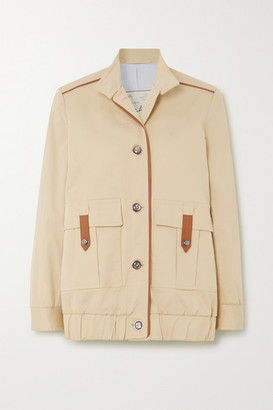 Giuliva Heritage Collection Net Sustain Space For Giants The Finch Leather-trimmed Cotton-blend Jacket - Sand