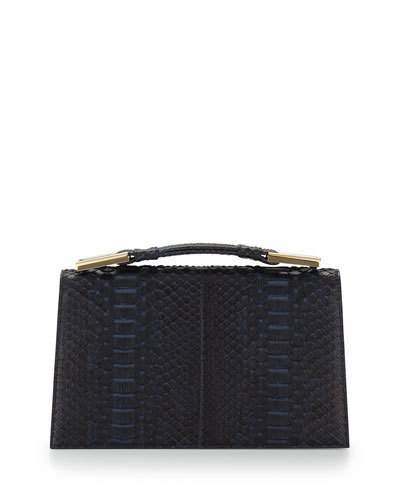 Jason Wu Charlotte Origami Python & Leather Evening Clutch Bag, Navy