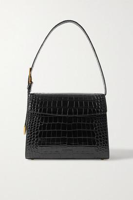 Balenciaga Ghost Medium Croc-effect Leather Shoulder Bag - Black