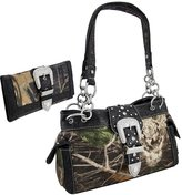 Things2Die4 Camouflage Rhinestone Western Buckle Purse/Wallet Set