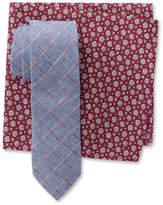 Original Penguin Ware Grid Tie & Floral Print Pocket Square Box Set