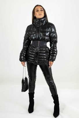 Sian Marie High Shine Black Padded Puffer Jacket with Detachable Belt