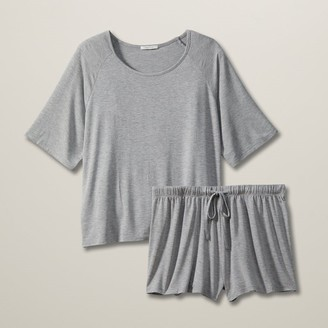 Love & Lore Love And Lore Comfy Pj Short Set Heather Grey Large