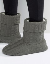 Asos Slipper Boots In Gray Cable Knit