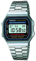 Casio A168wa-1yes Unisex Core Classic Digital Stainless Steel Bracelet Strap Watch, Silver/blue