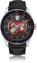 Ferrari Gran Premio Silver Tone Stainless Steel Case and Black Silicone Strap Men's Watch