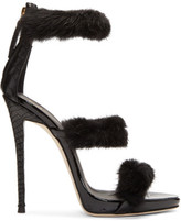 Giuseppe Zanotti Black Mink and Croc Coline Sandals