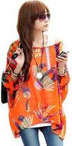 fashionbeautybuy Women Lady Blouse Floral Batwing Sleeve Loose Tee Shirt Casual Tunic Top Bohemia