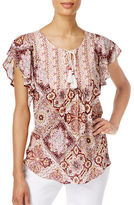 Style And Co. Petite Flutter-Sleeve Peasant Top