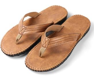 Aerusi Rio Groove Flip Flop Sandals tan Size 10 Regular US