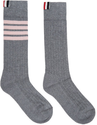 Thom Browne Grey and Pink Mid-Calf Athletic 4-Bar Socks