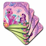3dRose cst_1058_3 My Pink Pony Ceramic Tile Coasters, Set of 4