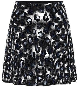 Adam Selman Sport Embellished leopard-print miniskirt