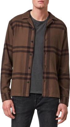 AllSaints Anchorage Slim Fit Check Flannel Button-Up Shirt