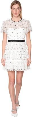 Self-Portrait Hibiscus Guipure Floral Lace Mini Dress